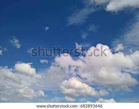 Beautiful bright blue sky with white fluffy clouds on a clear Sunny day. Natural cloudscape Background, Texture. Horizontal Wallpaper With Copy Space