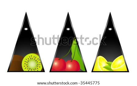 Beautiful bright cards with the image of tropical fruit