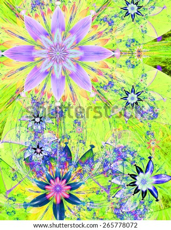 Beautiful bright shining modern high resolution flower field background with a detailed decorative flower pattern creating an original flower field, all in pink,yellow,green,blue - stock photo
