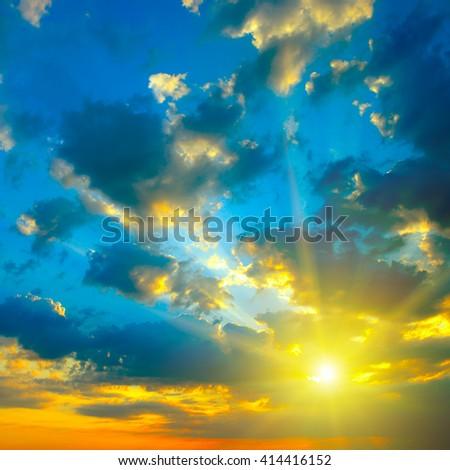 Beautiful bright sunset. Heavenly background. - stock photo