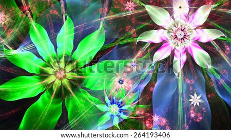 Beautiful bright vivid modern high resolution flower background with a detailed flower pattern with plastic natural looking 3D leaves, all in high resolution and in green,blue,pink,silver - stock photo