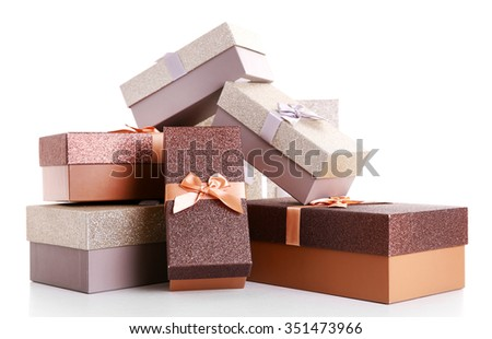 Beautiful brown and silver Christmas gifts isolated on white background