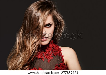 Beautiful brown hair Girl. Beautiful young model with red lips. Gorgeous Woman Face. - stock photo