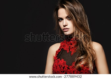 Beautiful brown hair Girl. Beautiful young model with red lips. Gorgeous Woman Face.