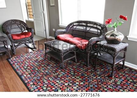 Beautiful brown wicker furniture - stock photo