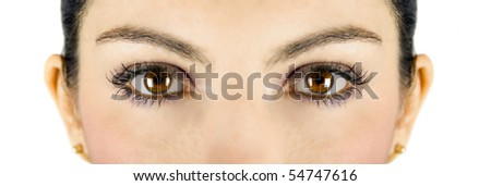 Beautiful brown woman eyes looking at you - stock photo