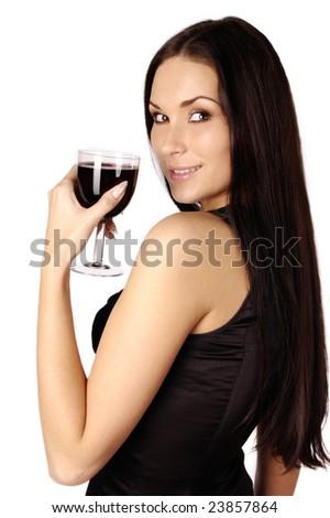 Beautiful brunet girl drinking red wine isolated - stock photo