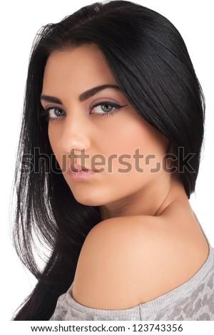 Beautiful brunette - stock photo