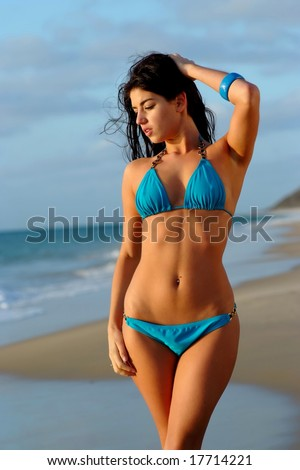 Beautiful brunette bikini girl