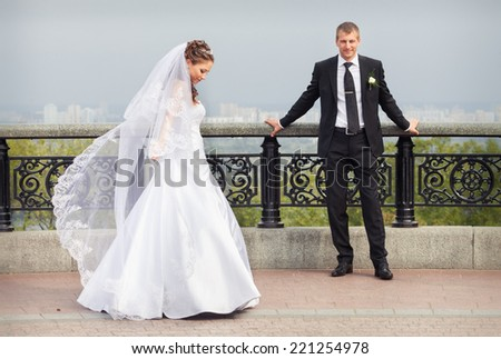 Beautiful Brunette Bride White Wedding Dress Stock Photo (Royalty ...
