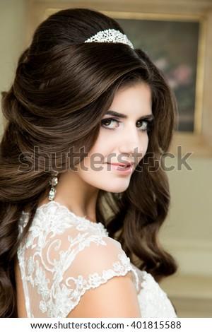 beautiful brunette bride portrait wedding makeup stock