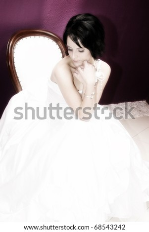 Beautiful brunette bride with short styled hair