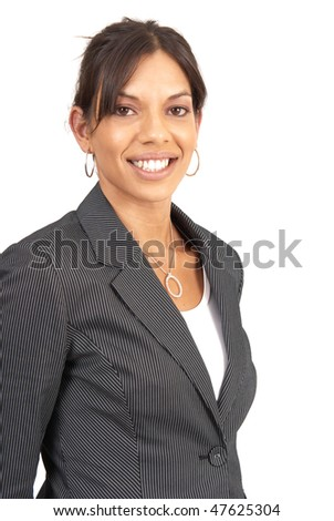 Beautiful brunette businesswoman in pinstripe suit. Isolated on white background - stock photo