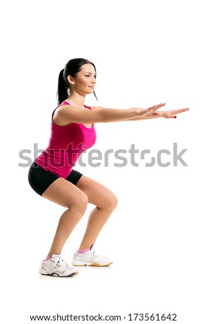 Beautiful brunette during balance - stock photo
