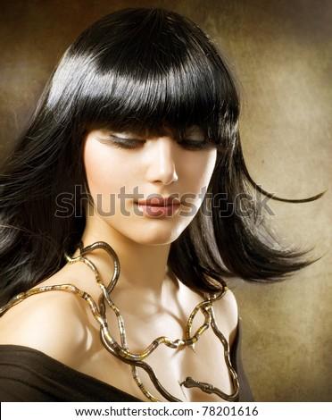 Beautiful Brunette.Egyptian Style .Hairstyle - stock photo