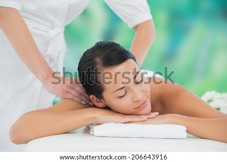 Beautiful brunette enjoying a back massage at a luxury spa - stock photo