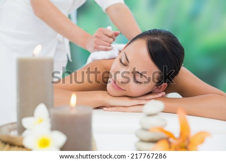 Beautiful brunette enjoying a herbal compress massage at a luxury spa - stock photo
