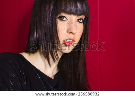 Beautiful Brunette Female with Long Hair - stock photo