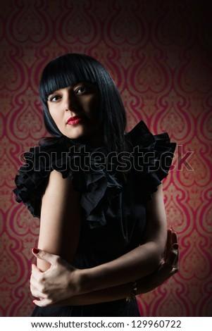 Beautiful brunette girl glamour portrait in studio - stock photo