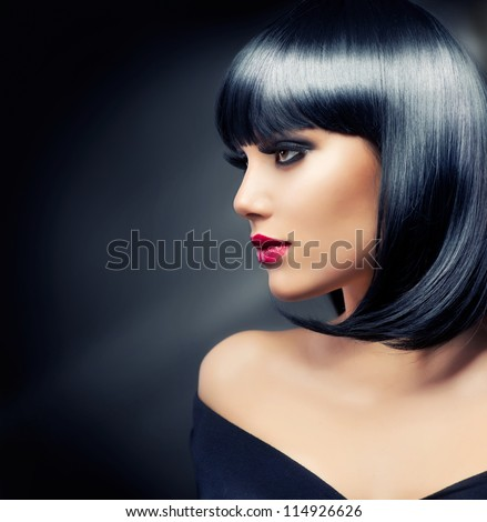 Beautiful Brunette Girl. Healthy Black Hair - stock photo