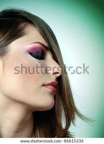 Beautiful Brunette Girl.Healthy Hair - stock photo