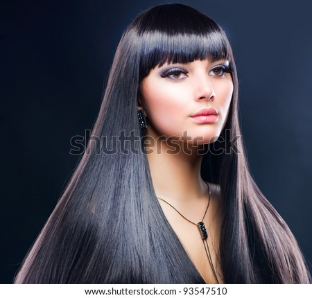 Beautiful Brunette Girl. Healthy Long Hair - stock photo