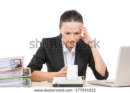beautiful brunette girl holding head. pretty young business woman having headache - stock photo