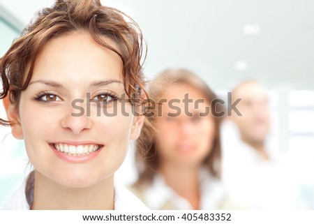 beautiful brunette girl smile portrait with a girl background - stock photo