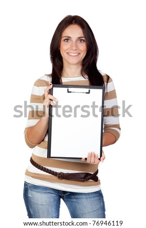 Beautiful brunette girl with clipboard isolated on a over white background - stock photo
