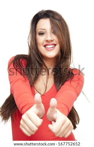 Beautiful Brunette Girl  with her thumb up over white background