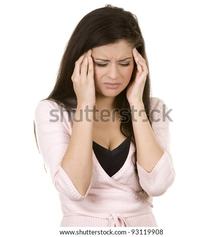 beautiful brunette having a headache on white background - stock photo