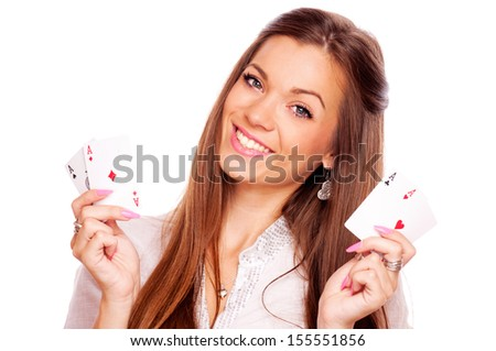 Beautiful brunette holding four aces, two in each hand - all aces in my hands, isolated on white - stock photo