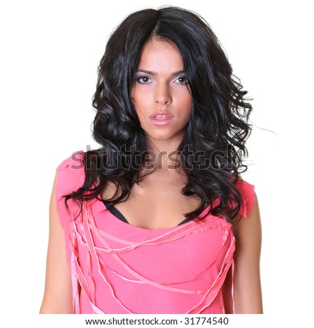 Beautiful brunette in a pink dress, isolated on a white background, please see some of my other parts of a images