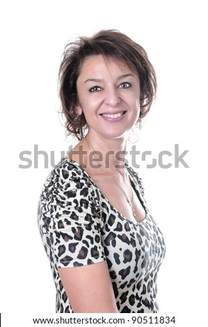 beautiful brunette mature woman smiling on white background - stock photo