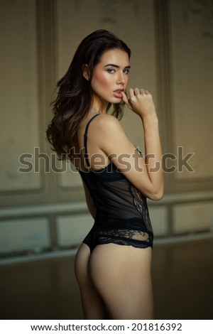 Beautiful brunette model in expensive lace lingerie - stock photo