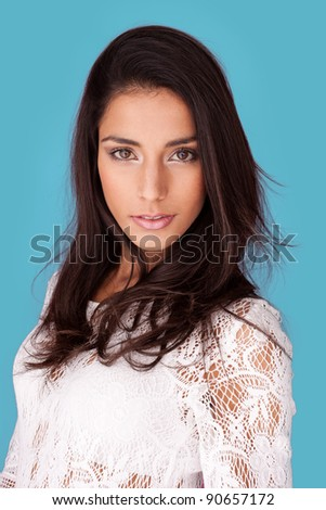 beautiful brunette model wearing white dress - stock photo