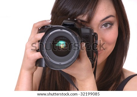 Beautiful Brunette Photographer isolated over white background