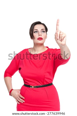 Beautiful brunette plus size woman making choice isolated - stock photo