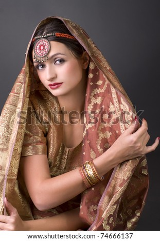 Beautiful brunette portrait with traditional costume. Indian style - stock photo