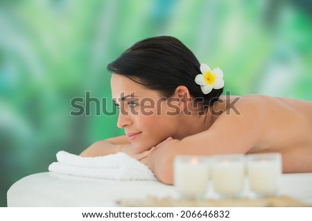 Beautiful brunette relaxing on massage table at a luxury spa - stock photo