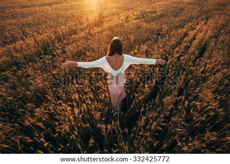 Beautiful brunette smiling girl in wheat field at sunset, rising up hands,  back view - stock photo