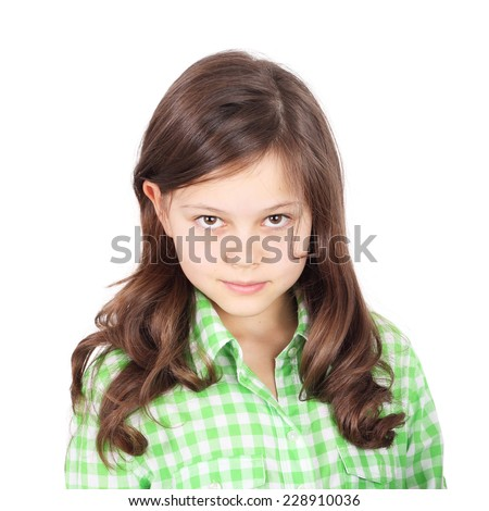 beautiful brunette teen girl closeup - stock photo