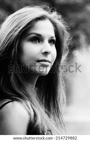 Beautiful brunette teenage girl - stock photo