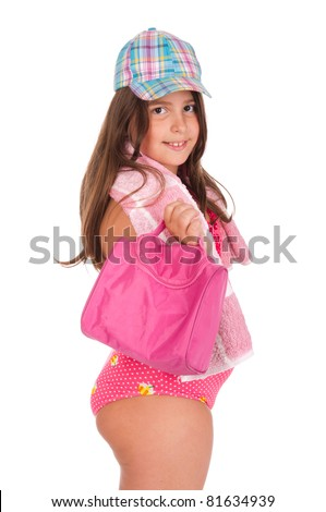 beautiful brunette teenage girl in swimsuit ready for the beach or pool with bag, cap and towel (isolated on white background) - stock photo