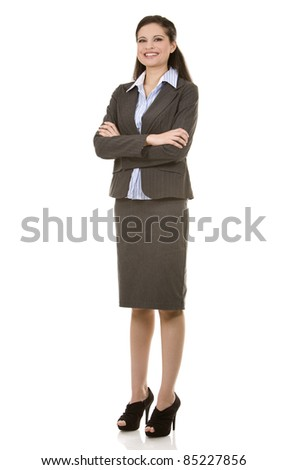 beautiful brunette wearing business outfit on white background