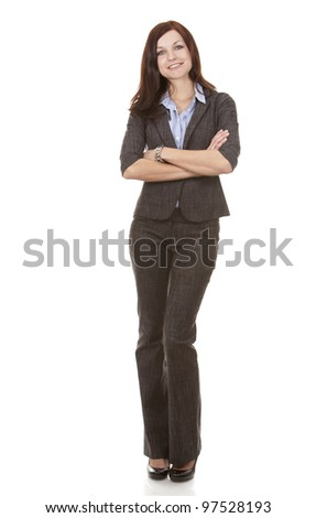 beautiful brunette wearing business outfit on white background - stock photo