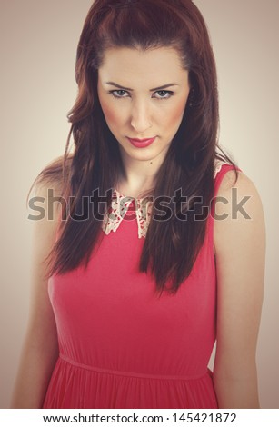 beautiful brunette woman. fashion shot