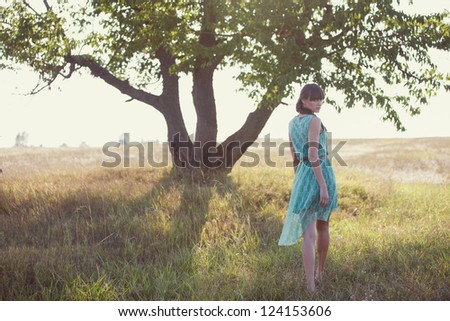 Beautiful brunette woman in a field at sunset - stock photo