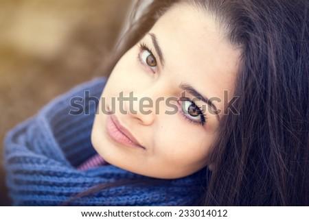 beautiful brunette woman portrait blue scarf - stock photo