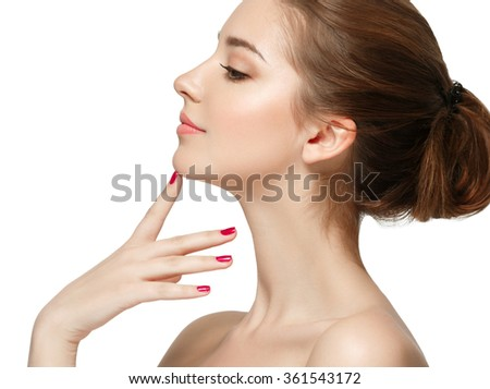 Beautiful Brunette Woman Portrait with healthy Hair.Clear Fresh Skin.Smiling Girl Isolated on a White Background.Skincare.Spa.Beauty Model - stock photo